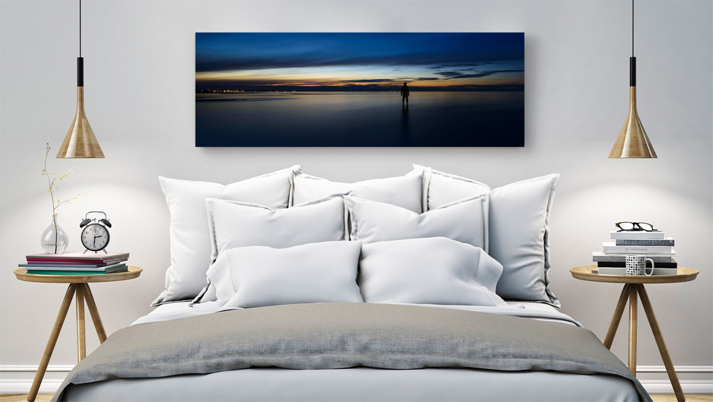 Photographic print permanently mounted underneath a polished sheet of premium acrylic