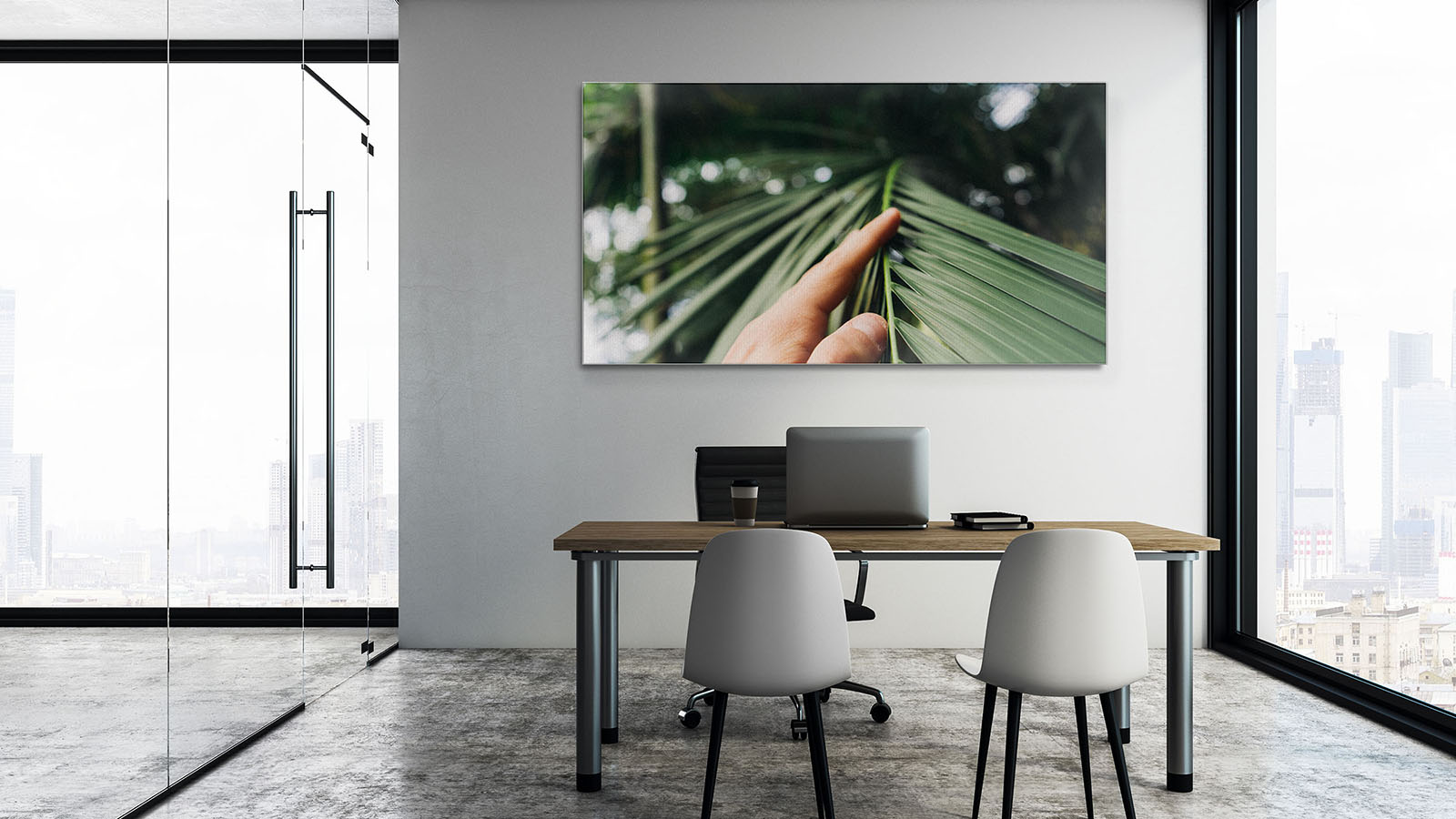 Modern office interior with furniture, city view and copy space on wall. Mock up, 3D Rendering